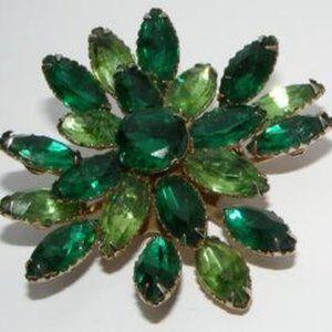 Vintage Shades of Green Rhinestone Brooch